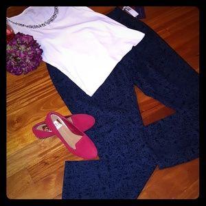 NWT NYDJ Woman's Blue Flocked Printed Jeans